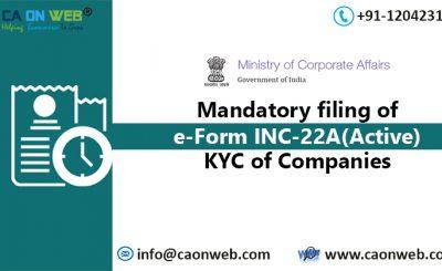 Mandatory Filing of e-Form INC-22A (ACTIVE)